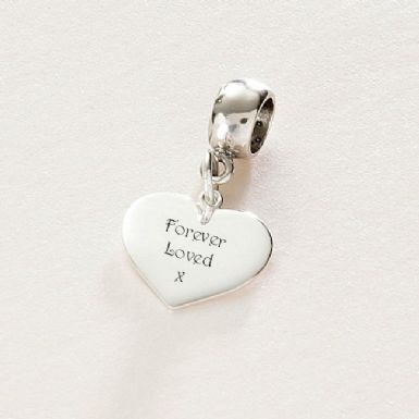 Engraved Silver Heart Charm - Pandora Style | Someone Remembered